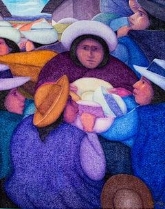 """Vendedora de Sombreros,"" Oil Painting on Jute signed by Ernesto Gutierrez"