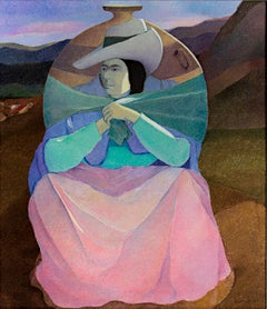 """Woman Carrying Porongo,"" original oil painting on jute by Ernesto Gutierrez"