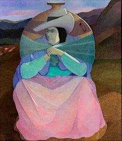 """Woman Carrying Porongo,"" Original Oil on Jute signed by Ernesto Gutierrez"