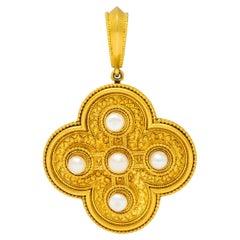 Ernesto Pierret Etruscan Revival Natural Pearl 18 Karat Gold Quatrefoil Pendant