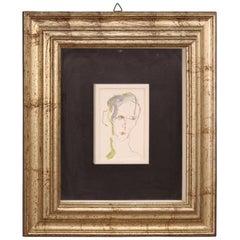 Ernesto Treccani 20th Century Oil on Canvas Italian Signed Portrait Painting