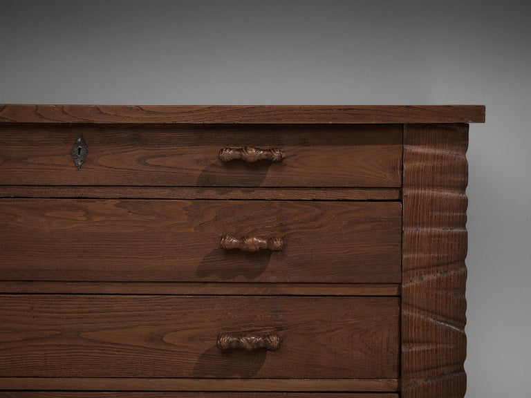 Mid-20th Century Ernesto Valabrega Chest of Drawers in Oak For Sale