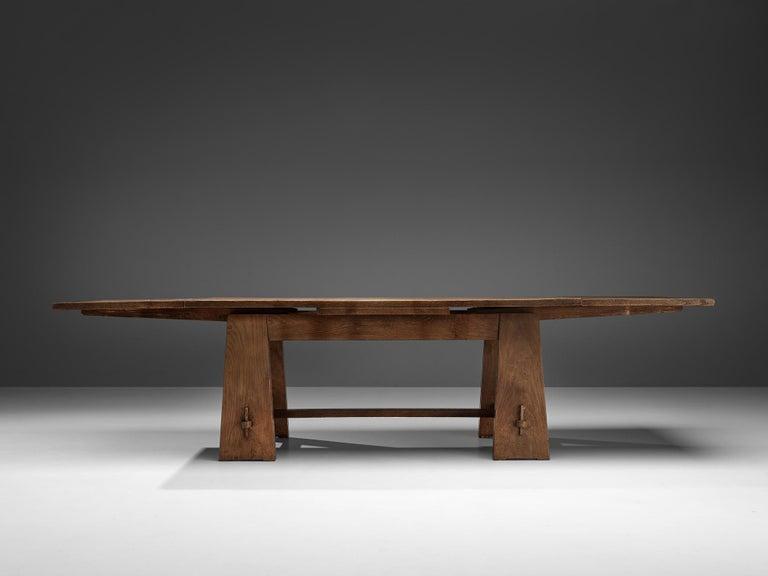 Art Deco Ernesto Valabrega Extendable Dining Table in Oak