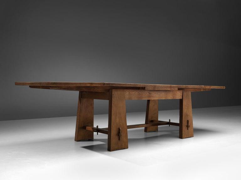 Italian Ernesto Valabrega Extendable Dining Table in Oak