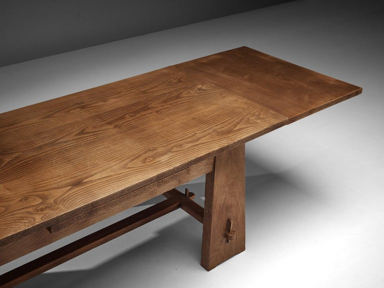 Ernesto Valabrega Extendable Dining Table in Oak In Good Condition In Waalwijk, NL