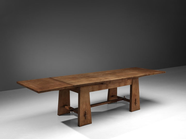 Wood Ernesto Valabrega Extendable Dining Table in Oak