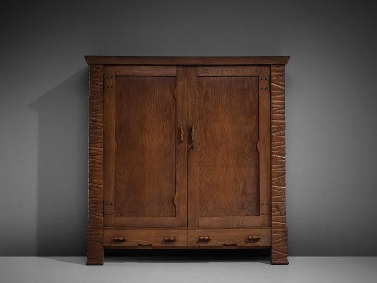 Ernesto Valabrega Large Wardrobe in Oak In Good Condition For Sale In Waalwijk, NL