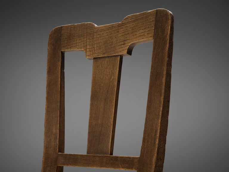 Art Deco Ernesto Valabrega Set of Eight Dining Chairs in Oak For Sale