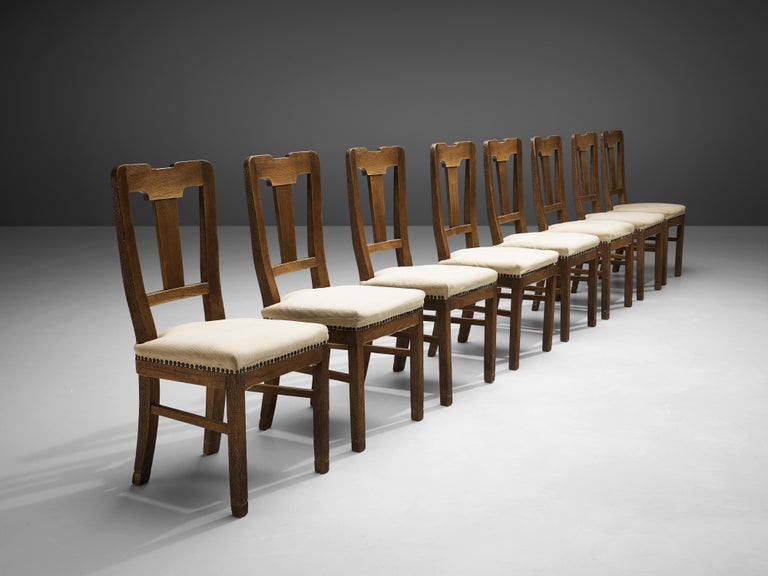 Italian Ernesto Valabrega Set of Eight Dining Chairs in Oak For Sale