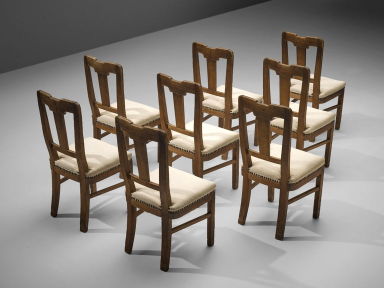 Mid-20th Century Ernesto Valabrega Set of Eight Dining Chairs in Oak For Sale