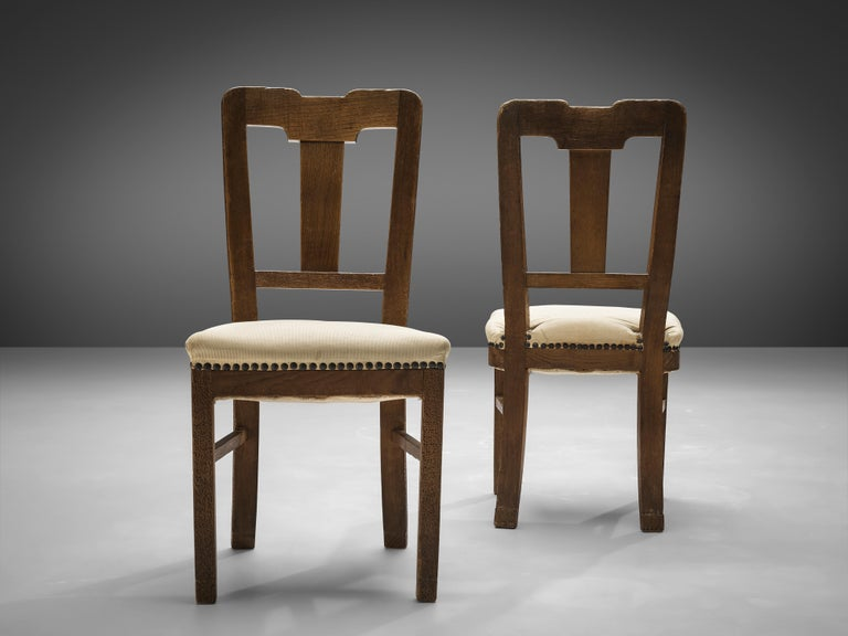 Metal Ernesto Valabrega Set of Eight Dining Chairs in Oak For Sale