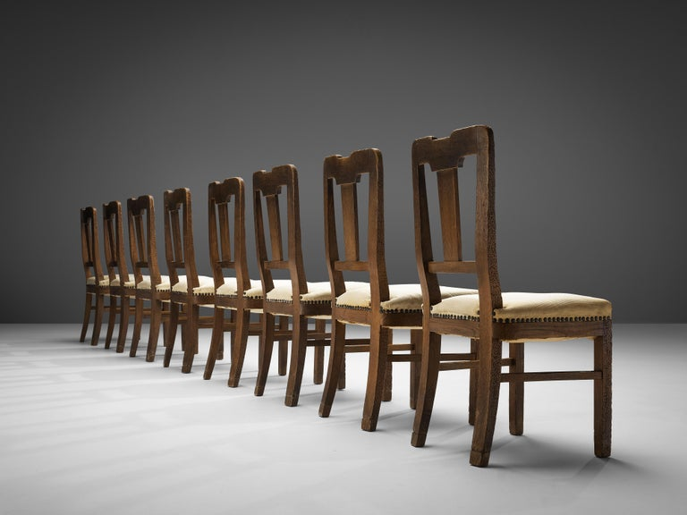 Ernesto Valabrega Set of Eight Dining Chairs in Oak For Sale 1