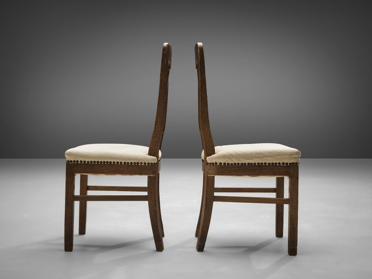 Ernesto Valabrega Set of Eight Dining Chairs in Oak For Sale 2