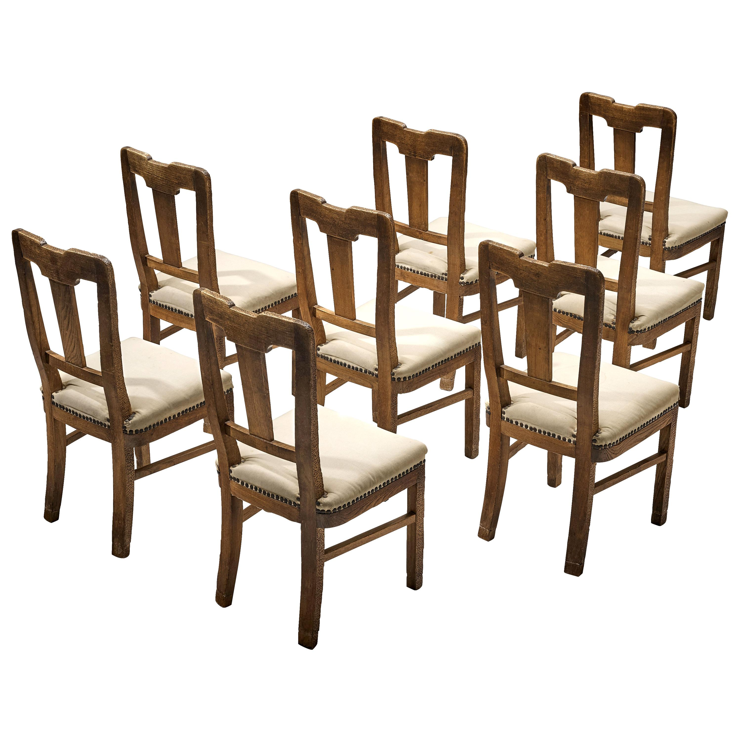 Ernesto Valabrega Set of Eight Dining Chairs in Oak