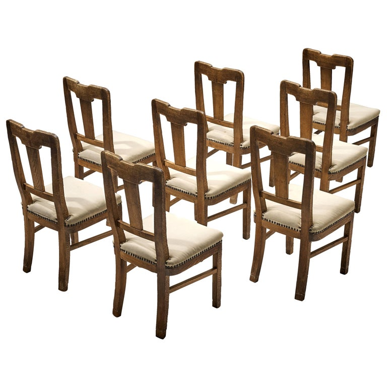 Ernesto Valabrega Set of Eight Dining Chairs in Oak For Sale