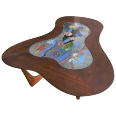 Erno Fabry Mid-Century Modern Biomorphic Walnut and Glass Cocktail Coffee Table