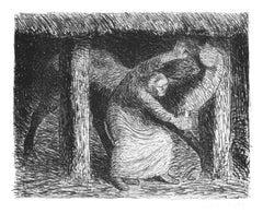 Die Mörderin  - Original Lithograph by Ernst Barlach - 1912