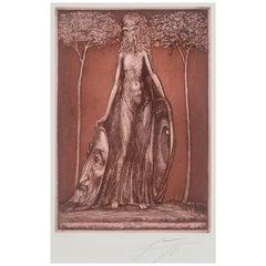 Ernst Fuchs Etching Flora Okuli