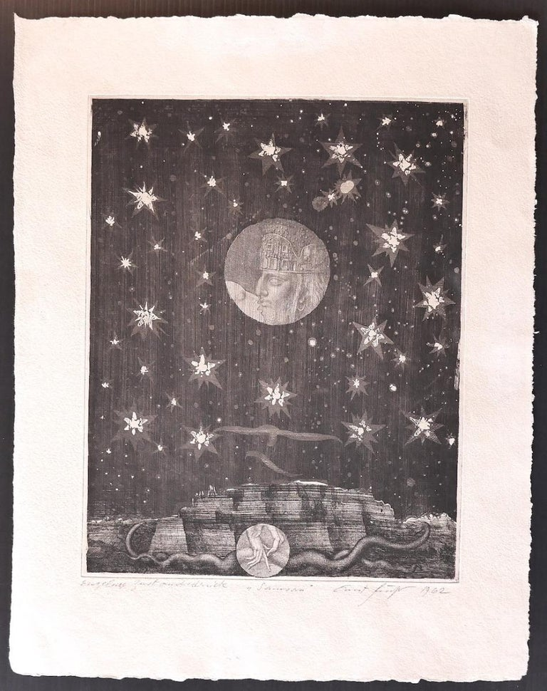 Dream is an original modern artwork realized by Ernst Fuchs in 1962.  Original etching on paper.  Hand-signed on the lower right.  Good Conditions but aged.  This artwork depicted by mastery, applying contrast through well-defined black and white,
