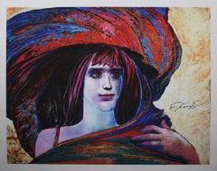 "Ernst Fuchs - ""Girl in Big Hat"" - giclée print on canvas"