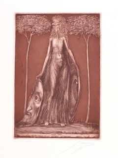 Flora Okuli - Original Etching by Ernst Fuchs - Late 20th Century