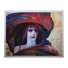"Ernst Fuchs ""Girl With Big Hat"""
