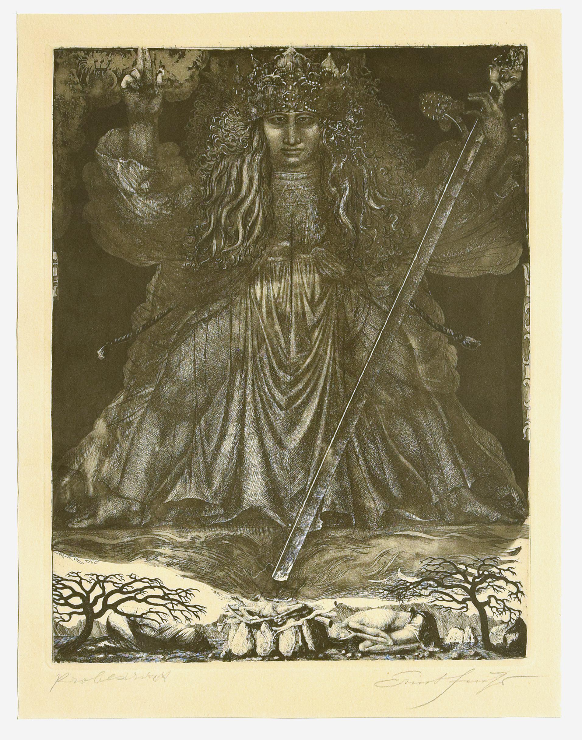Samson, the Judge - Original Etching by Ernst Fuchs - 1960s