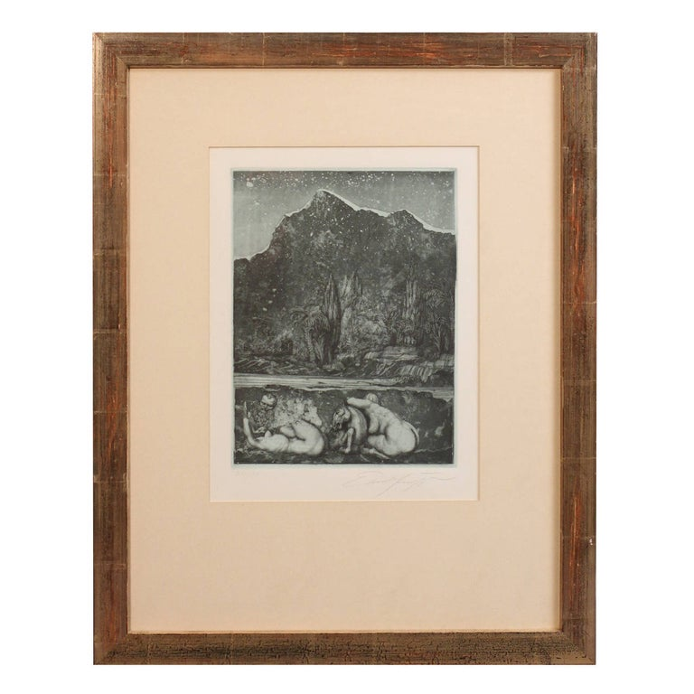 Surreal dry point etching, 'Under the Snow Lilith' by Ernst Fuchs, signed lower left, right, numbered '27/150,' mounted and framed, panel size: 10.5