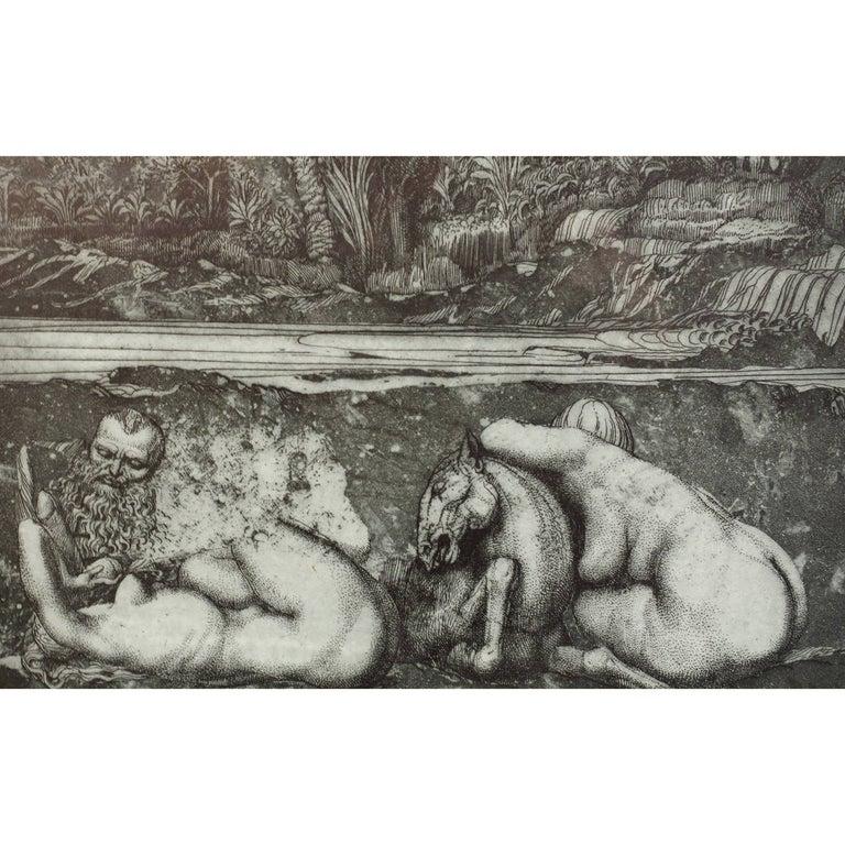 Mid-Century Modern Ernst Fuchs 'under the Snow Lilith' Print, 1969 For Sale