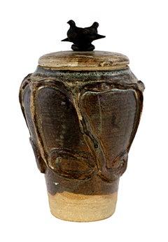 """""""Cover Jar w/ 2 Birds,"""" Stoneware and Bronze signed by Ernst Gramatzki"""