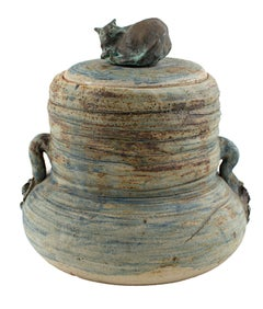 """Cover Jar w/ Cat,"" Stoneware and Bronze signed by Ernst Gramatzki"