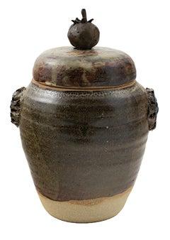 """Cover Jar w/ Tomato,"" Stoneware and Bronze signed by Ernst Gramatzki"