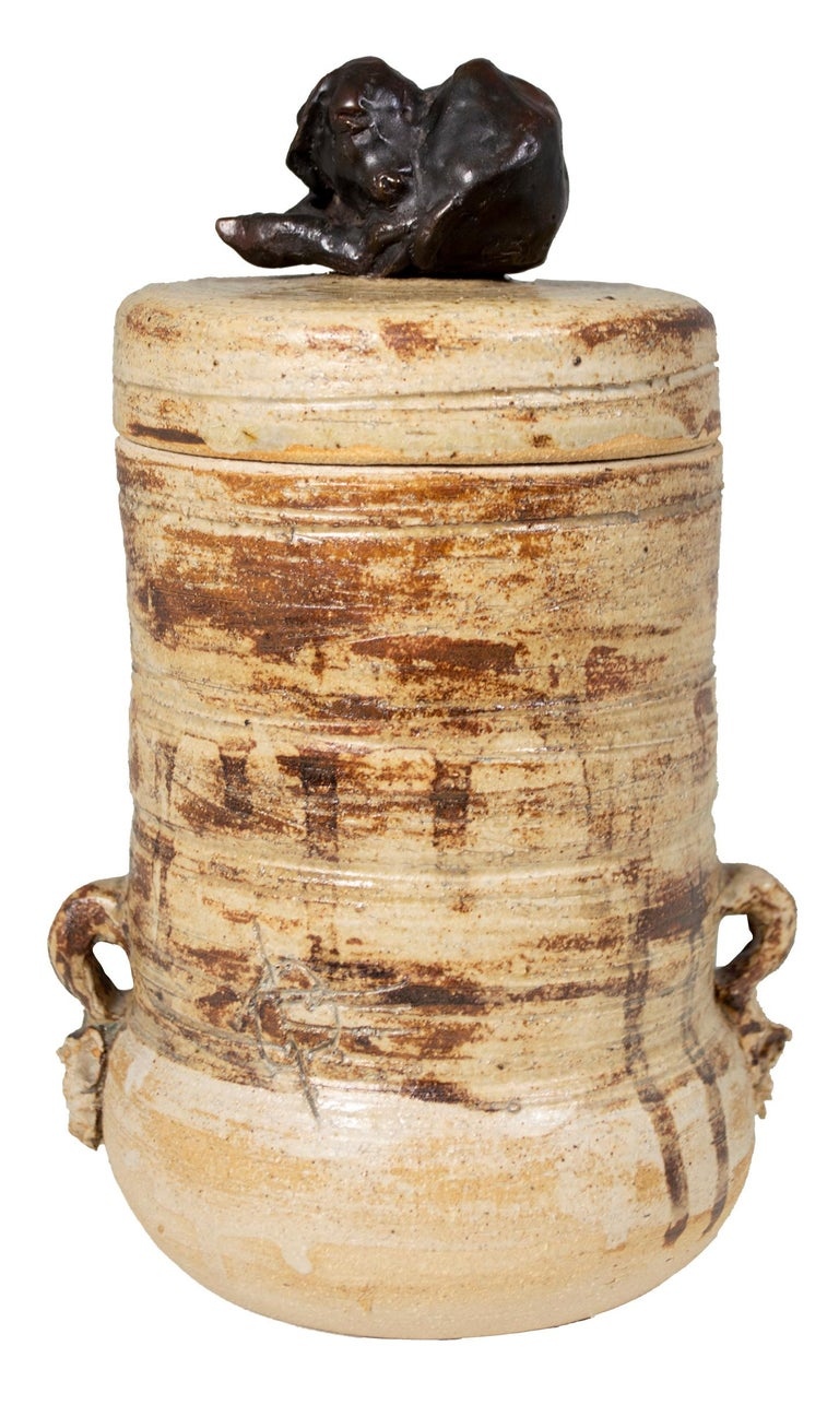 Ernst Gramatzki Figurative Sculpture - 'Cover Jar with Lamb' signed stoneware jar with bronze lamb finial
