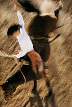 Bronco Rider, California, Contemporary Color Portrait Photography of Cowboy