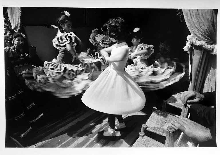 Ernst Haas Black and White Photograph - Dancing Girls, Black and White Portrait Photograph of Children in Sevilla, Spain