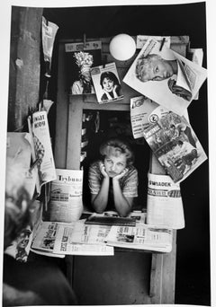 Polish Kiosk Woman, Poland, Black and White Portrait Photography 1960s