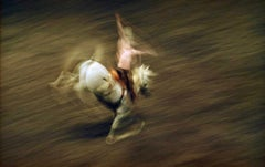 Rodeo, Contemporary Color Portrait Photography of Horse and Rider in Motion