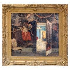 Ernst Kolbe Oil Painting, Canvas, Interior Scene, Late 19th Century, Europe, Big