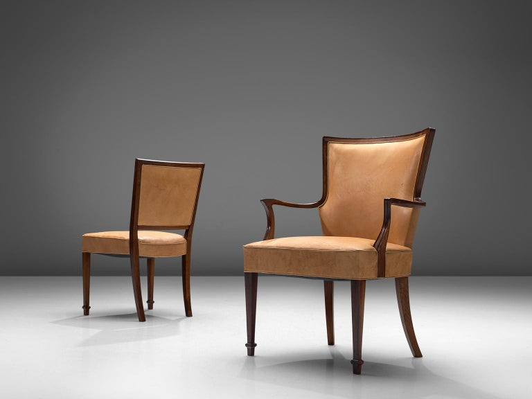 Scandinavian Modern Ernst Kuhn Attributed Dining Chairs in Leather and Solid Rosewood For Sale
