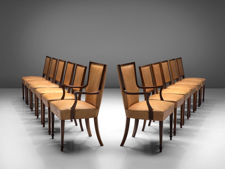 Danish Ernst Kuhn Attributed Dining Chairs in Leather and Solid Rosewood For Sale