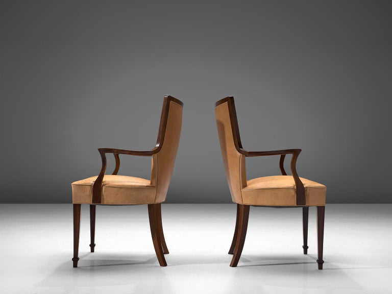Ernst Kuhn Attributed Dining Chairs in Leather and Solid Rosewood In Good Condition For Sale In Waalwijk, NL