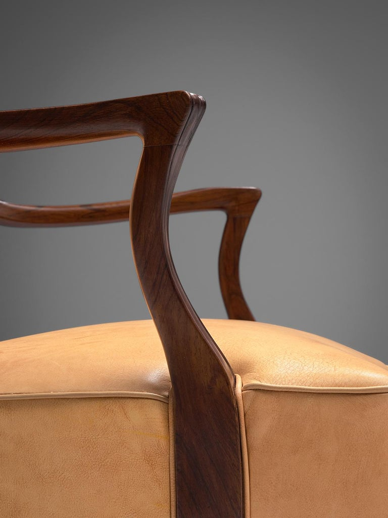 Mid-20th Century Ernst Kuhn Attributed Dining Chairs in Leather and Solid Rosewood For Sale