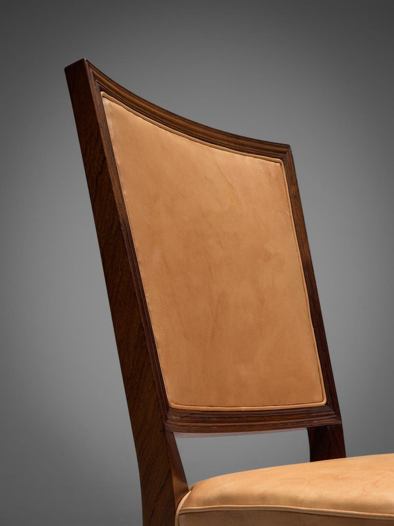 Ernst Kuhn Attributed Dining Chairs in Leather and Solid Rosewood For Sale 2