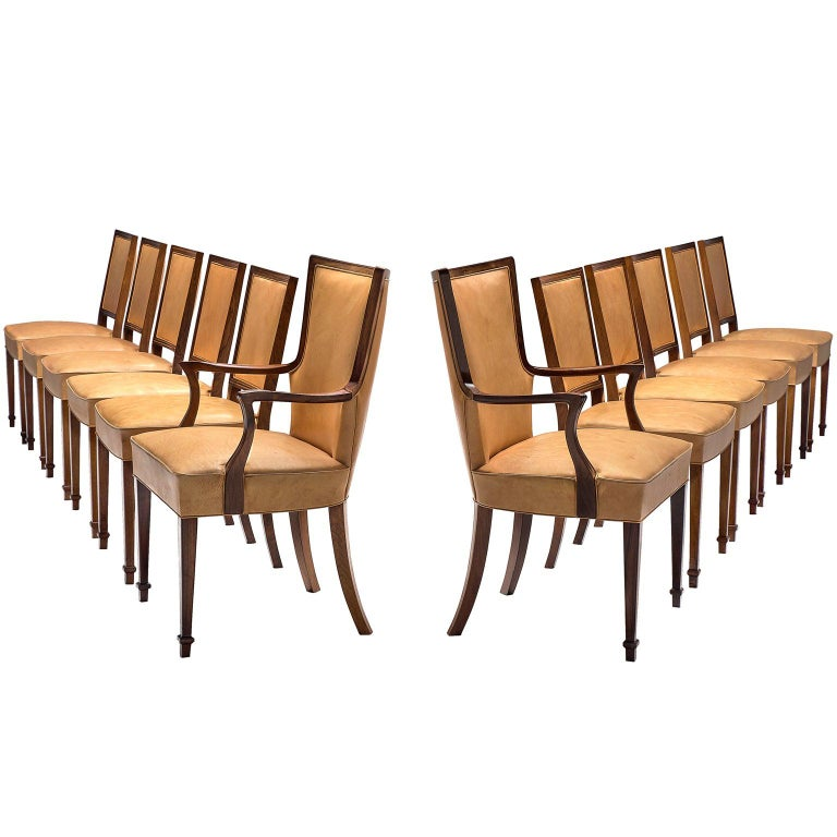 Ernst Kuhn Attributed Dining Chairs in Leather and Solid Rosewood For Sale