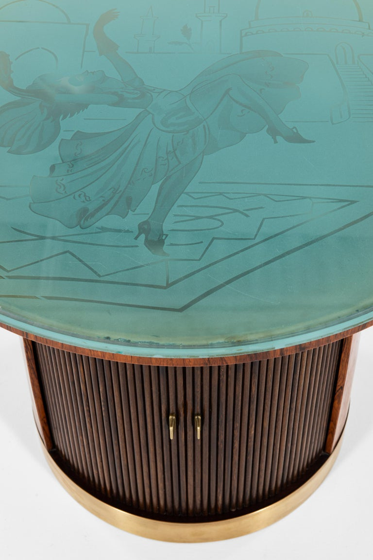 Very rare coffee table / bar cabinet attributed to Ernst Kühn. Produced by Lysberg Hansen & Therp in Denmark.