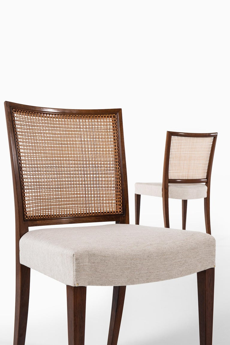 Fabric Ernst Kühn Dining Chairs Produced by Lysberg Hansen & Therp in Denmark For Sale