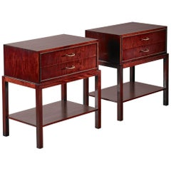 Ernst Kuhn Pair of Mahogany Nightstands, Denmark, 1930s