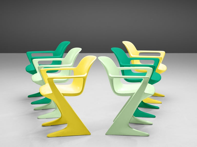 Ernst Moeckl for Trabant, 'Z' armchairs, wood, Germany, 1968  This set of colourful Kangaroo chairs is designed by Ernst Moeckl in 1968. The chair is also called the Z-chair, referring to its shape. During the period of the Iron Curtain, the Panton