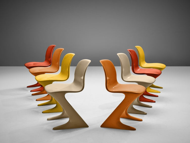 Ernst Moeckl for Trabant, 'Z' or 'Kangaroo' armchairs , wood, Germany, design 1971  This set of colorful Kangaroo chairs is designed by Ernst Moeckl in 1971. The chair is also called the Z-chair, referring to its shape. During the period of the