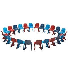 Ernst Moeckl Large Set of Twenty-Four Multicolored Kangaroo Chairs, 1968